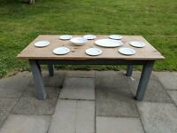 LARGE rustic wooden galley farmhouse kitchen/dining table. Grey shabby chic.