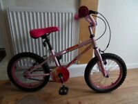 Girl's Pink Bike for 5yrs to 9yrs, well maintained, light use, in excellent condition