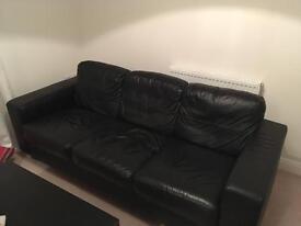 Black leather sofa!