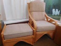 Cane Chair (high backed) and Matching Footstool