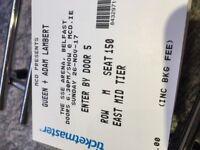 2 seated tickets Queen with Adam lambert 26 November Belfast