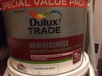 Dulux trade weather shield smooth masonry white paint 7.5l
