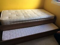 3ft single bed with guest bed.2 mattresses included .