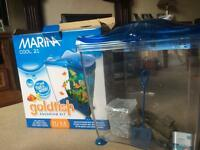 Marina Cool Blue Fish Tank with accessories