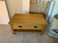 Large Oak coffee table with shelf and drawer (very good condition) with toughened glass top