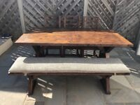 Rustic dining table, chairs and bench - seats 6
