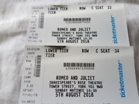Romeo & Juliet Tickets x 2 Shakespeare Rose Theatre York 5th Aug 2018