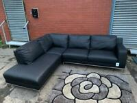 Absolutely beautiful black leather DFS corner sofa delivery 🚚 sofa suite couch furniture
