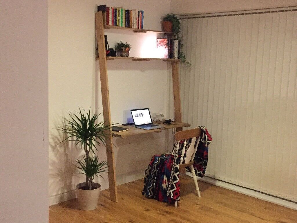 Ladder Desk With Shelves Reclaimed Recycled Wood Handmade Pc Office Furniture Design