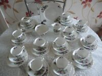 40 Piece Bone China Tea Set White with Violet Flowers Gilt Edging