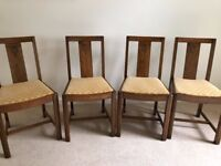 4 x Traditional Oak Dining Chairs with Fabric covered seats