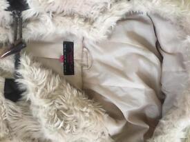 Cream fur coat size 8