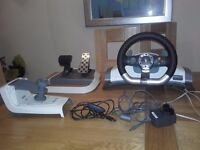 Xbox 360 steering wheel and pedals with USB wireless receiver for PC