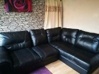 Large DFS Black leather sofa / Can deliver if needed