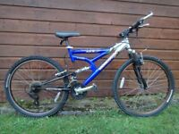Mongoose EFX full suspension bike 26 inch wheels, 21 gears, 17 inch aluminium frame working order