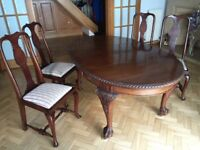 Antique Table and 4 Chairs in beautiful condition