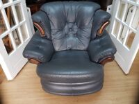 Armchair, blue leather, reclining