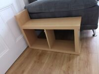 Sofa side table, end table, laminated, mid brown wood-like