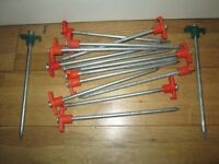 "Sturdy and strong Tent pegs. Mini marquee, Awning Pins. 25cm / 10"" long."
