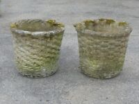 TALL PAIR OF VINTAGE CAST STONE WICKER EFFECT GARDEN PLANTERS GARDEN POTS 33CM