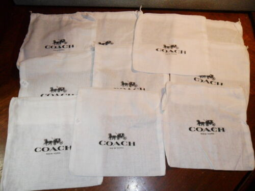 "COACH lot of 10 Drawstring Cloth Linen Dust Cover Bag 8"" x 8"" NEW Unused"