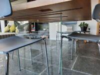 Parigi hand made oak and glass legged table