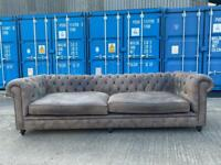 Beautiful Chesterfield Brown nubuck Leather 4 Seater Sofa