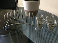 Stainless Steel toast Rack and four Egg Cups