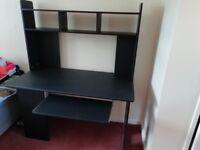 Good quality dark blue solid wood computer desk.