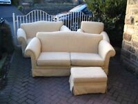 4 Piece Suite, 3 Seat, 2 Seat Armchair & Foot Stool. Excellent Condition. £80ono