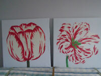 2 Canvas Flower Pictures 710x710mm white background, red/cream/green flowers £12 for both
