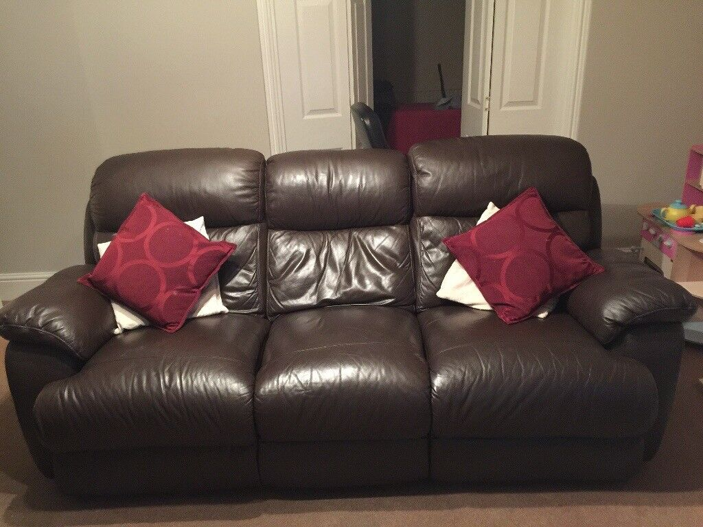 2 X three piece brown leather recliner suite