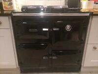 Rayburn Oil Fired Range. 499KB. Central Heating/Cooker. Black. Can be seen running.