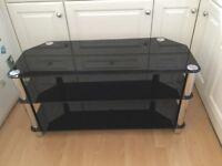 BLACK GLASS TV UNIT - REDUCED