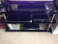 Black and chrome tv 3 tier cabinet