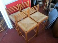 Chairs - 4 Wooden Frame and Wicker Seat Bar / Kitchen High Chairs.