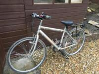 Silver Raleigh Bike with Panier attached