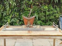 Brass fender with copper coal scuttle