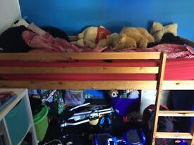 Mid sleeper pine bed no mattress good condition