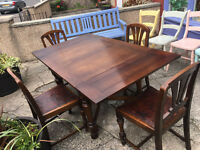 Charming Vintage 1950's Original Art Deco Solid Oak Extending Gate Leg Table and 4 Matching Chairs
