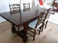 Reproduction dining table and six chairs