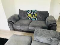 Grey & Black 3 piece contemporary fabric sofa set