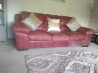 Sofology red leather 3 seater sofa and y