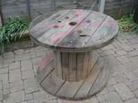 Chunky Wooden Reclaimed Cable Reel/Drum,Table, 90cm x 67cm Upcycled/Craft project.