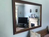 Large Oak ?Trafalgar? Framed Guilt Edged Bevelled Mirror H35.5in/90cm W46in/116cm R186