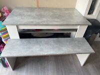 2 x grey and white bench table