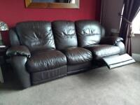 3&2 seater reclining leather settees