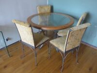 Dining Table (round glass top with pine trim + iron base) + 4 dining chairs