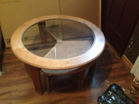 VINTAGE LARGE GLASS TOP G-PLAN COFFEE TABLE.