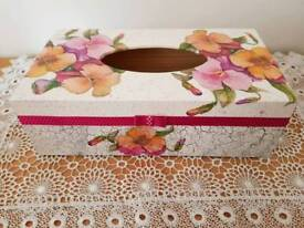 Handmade wooden decoupaged Tissue Box